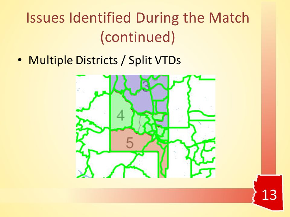 Issues Identified During the Match (continued) Multiple Districts / Split VTDs 13