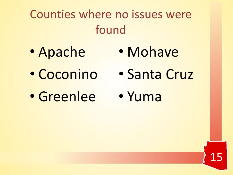 Counties where no issues were found Apache Coconino Greenlee Mohave Santa Cruz Yuma 15