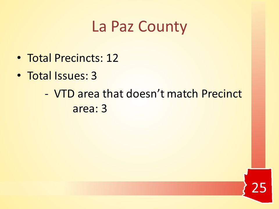 La Paz County Total Precincts: 12 Total Issues: 3 - VTD area that doesn't match Precinct area: 3 25