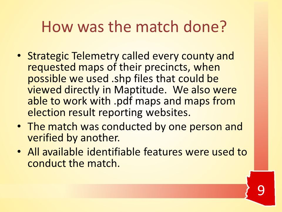 How was the match done? Strategic Telemetry called every county and requested maps of their precincts, when possible we used.shp files that could be v