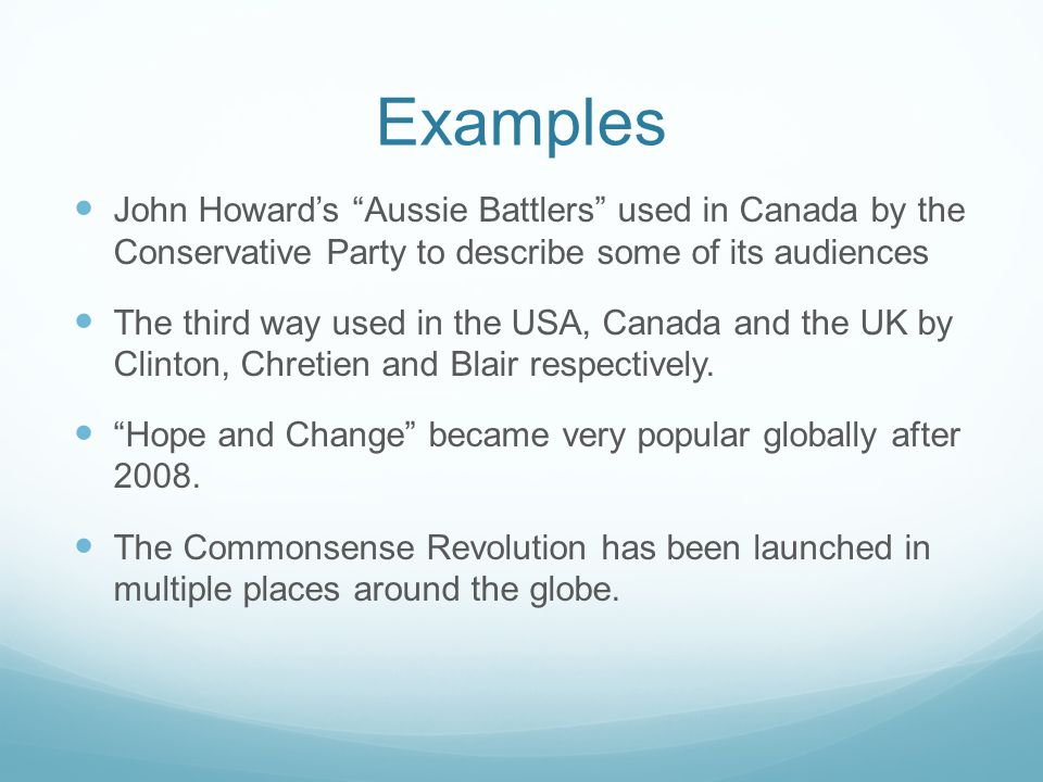 Examples John Howard's Aussie Battlers used in Canada by the Conservative Party to describe some of its audiences The third way used in the USA, Canada and the UK by Clinton, Chretien and Blair respectively.