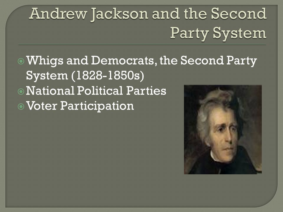  Whigs and Democrats, the Second Party System (1828-1850s)  National Political Parties  Voter Participation