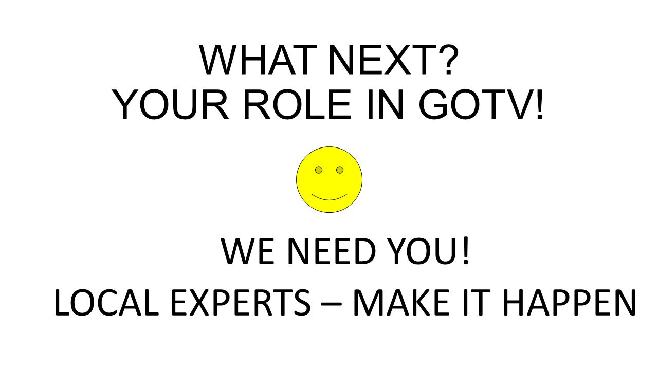 WHAT NEXT YOUR ROLE IN GOTV! WE NEED YOU! LOCAL EXPERTS – MAKE IT HAPPEN