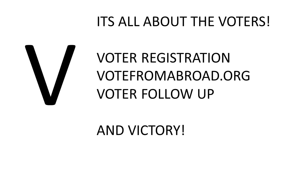 V ITS ALL ABOUT THE VOTERS! VOTER REGISTRATION VOTEFROMABROAD.ORG VOTER FOLLOW UP AND VICTORY!