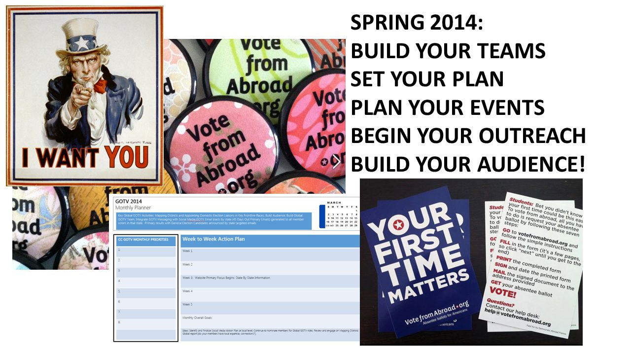 SPRING 2014: BUILD YOUR TEAMS SET YOUR PLAN PLAN YOUR EVENTS BEGIN YOUR OUTREACH BUILD YOUR AUDIENCE!