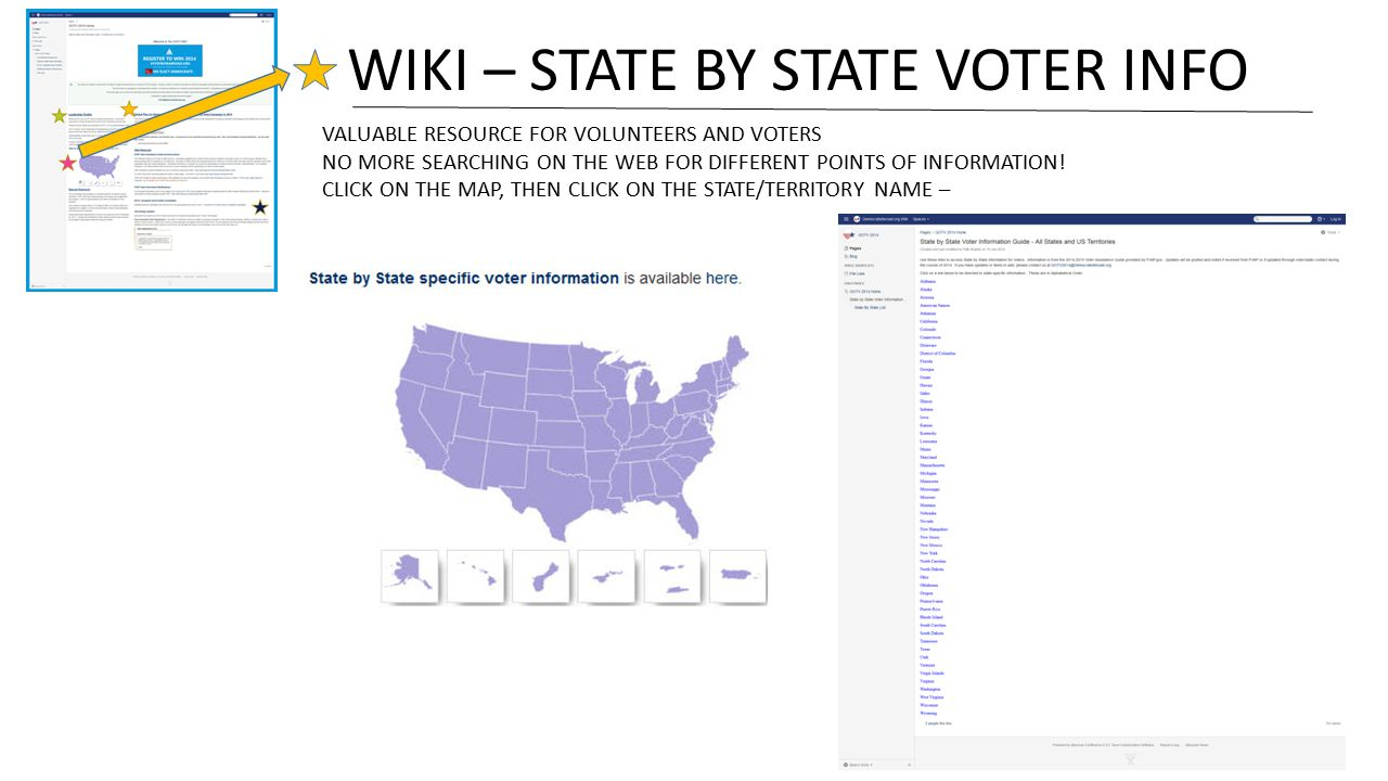 WIKI – STATE BY STATE VOTER INFO VALUABLE RESOURCE FOR VOLUNTEERS AND VOTERS NO MORE SEARCHING ON THE WEB FOR DIFFERENT POINTS OF INFORMATION.