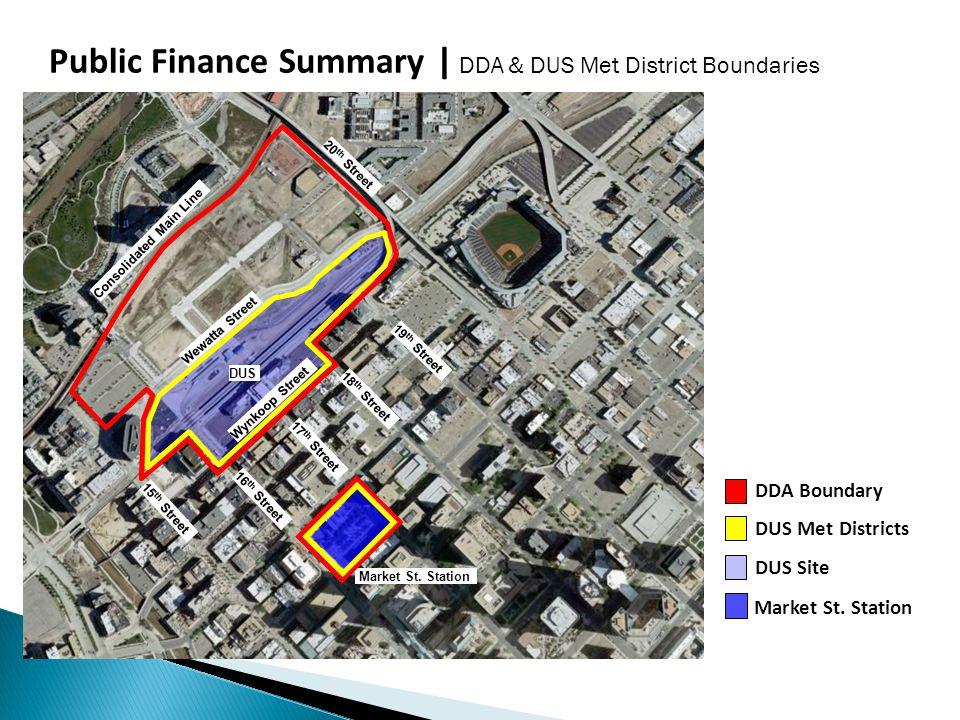 Public Finance Summary | DDA & DUS Met District Boundaries DDA Boundary DUS Met Districts DUS Site Market St.