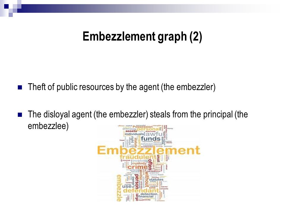 Embezzlement graph (2) Theft of public resources by the agent (the embezzler) The disloyal agent (the embezzler) steals from the principal (the embezz