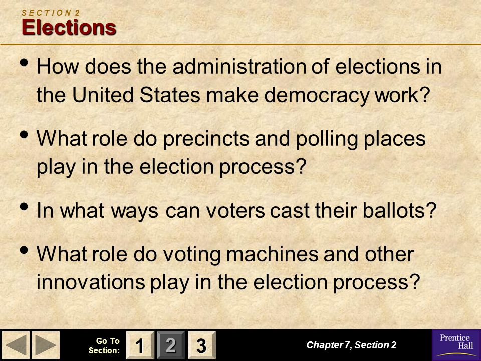 123 Go To Section: Elections S E C T I O N 2 Elections How does the administration of elections in the United States make democracy work? What role do