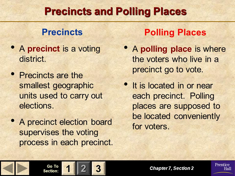 123 Go To Section: Precincts and Polling Places Precincts A precinct is a voting district. Precincts are the smallest geographic units used to carry o