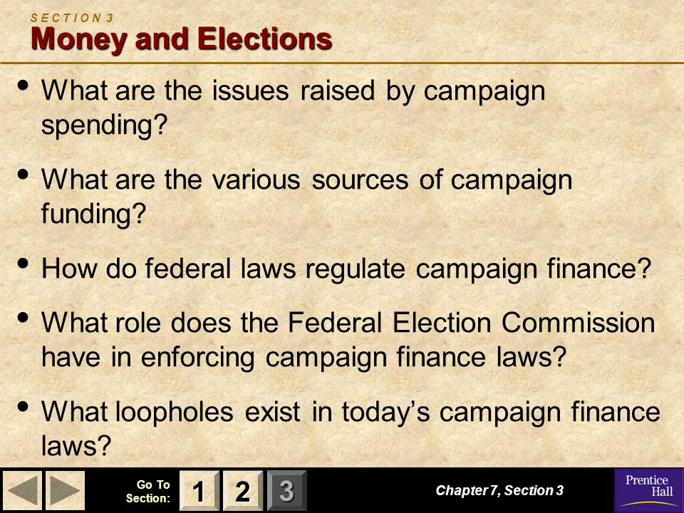 123 Go To Section: Chapter 7, Section 3 Money and Elections S E C T I O N 3 Money and Elections What are the issues raised by campaign spending? What