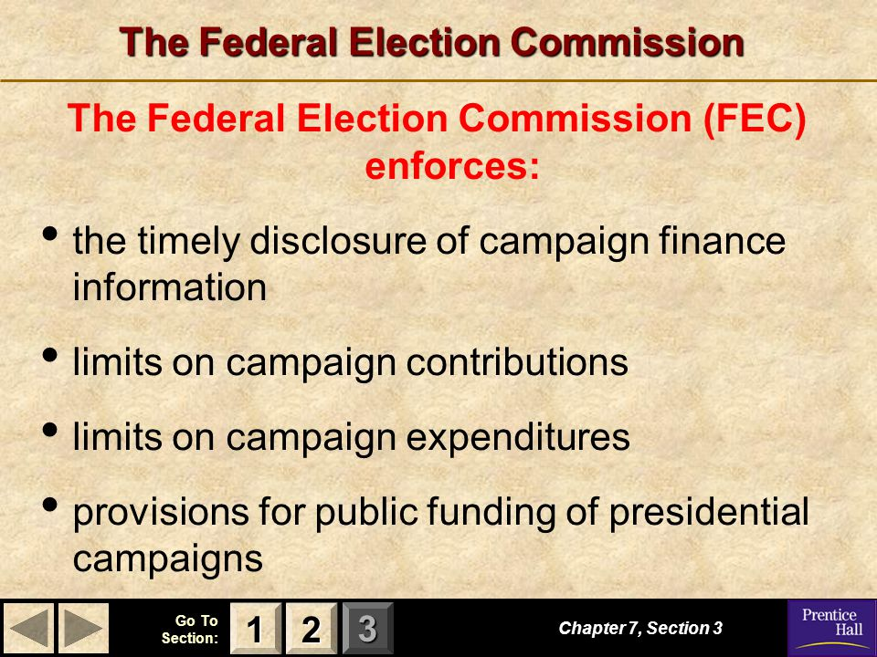 123 Go To Section: The Federal Election Commission The Federal Election Commission (FEC) enforces: the timely disclosure of campaign finance informati