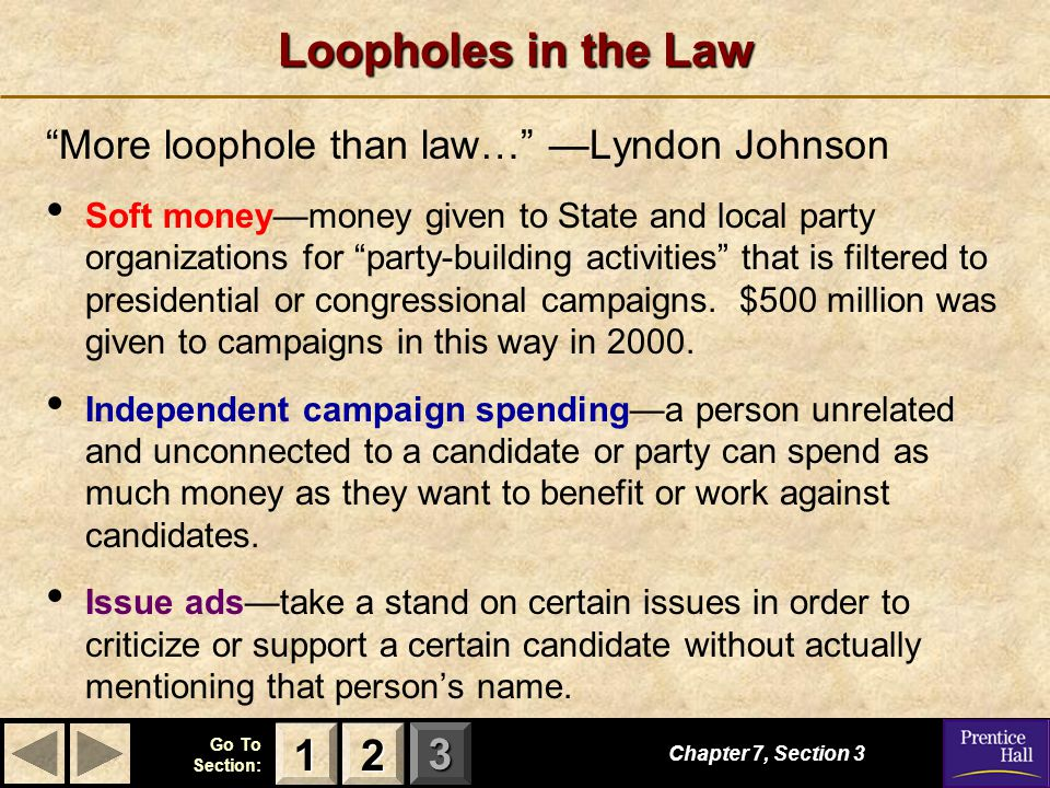 """123 Go To Section: Loopholes in the Law """"More loophole than law…"""" —Lyndon Johnson Soft money—money given to State and local party organizations for """"p"""
