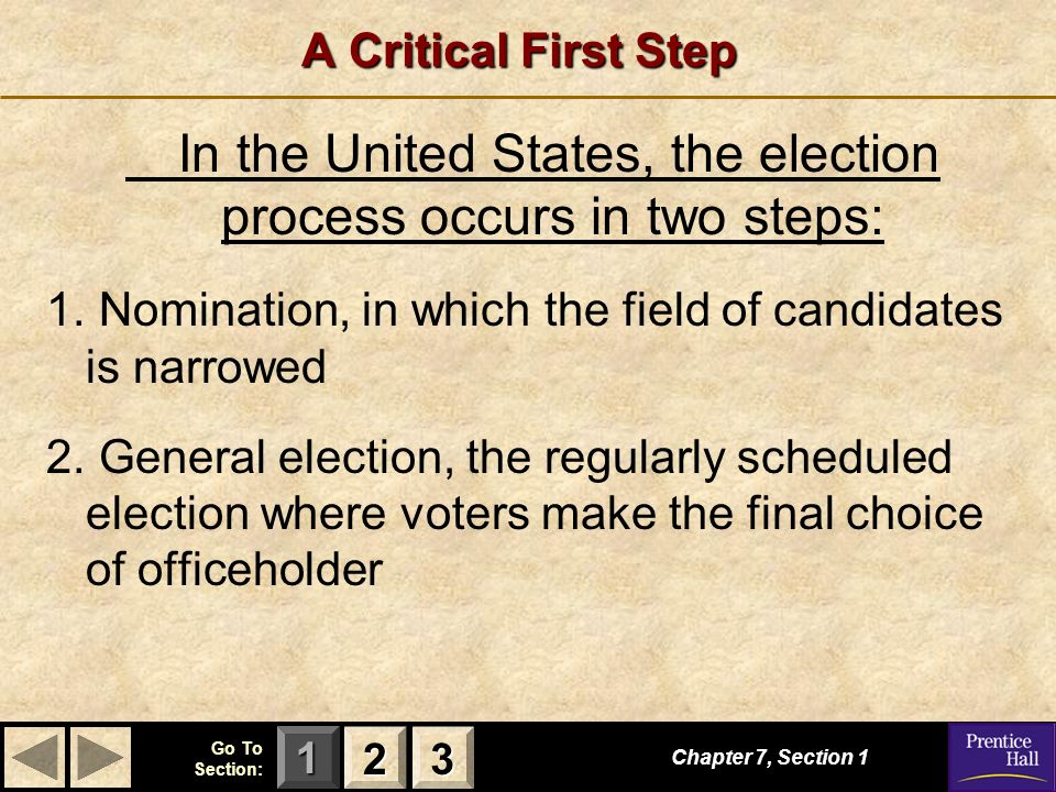 123 Go To Section: A Critical First Step Chapter 7, Section 1 2222 3333 In the United States, the election process occurs in two steps: 1. Nomination,