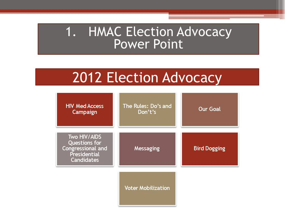 2012 Election Advocacy HIV Med Access Campaign The Rules: Do's and Don't's Our Goal Two HIV/AIDS Questions for Congressional and Presidential Candidates MessagingBird Dogging Voter Mobilization 1.HMAC Election Advocacy Power Point