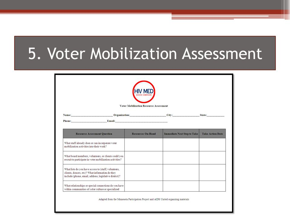 5. Voter Mobilization Assessment