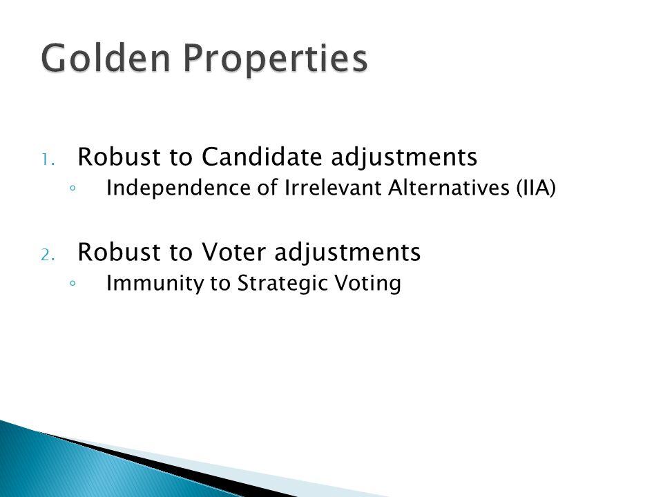 1. Robust to Candidate adjustments ◦ Independence of Irrelevant Alternatives (IIA) 2.