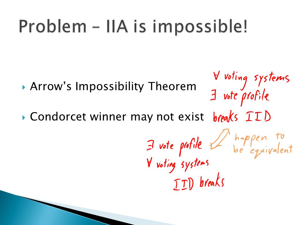  Arrow's Impossibility Theorem  Condorcet winner may not exist