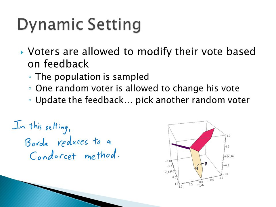  Voters are allowed to modify their vote based on feedback ◦ The population is sampled ◦ One random voter is allowed to change his vote ◦ Update the feedback… pick another random voter