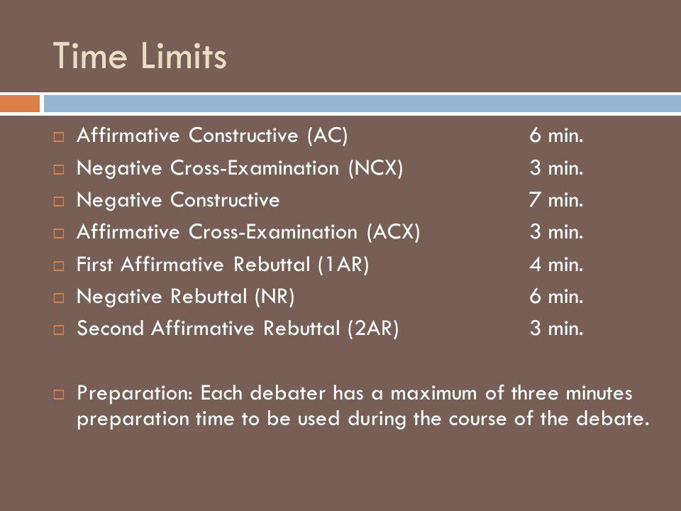 Time Limits  Affirmative Constructive (AC) 6 min.