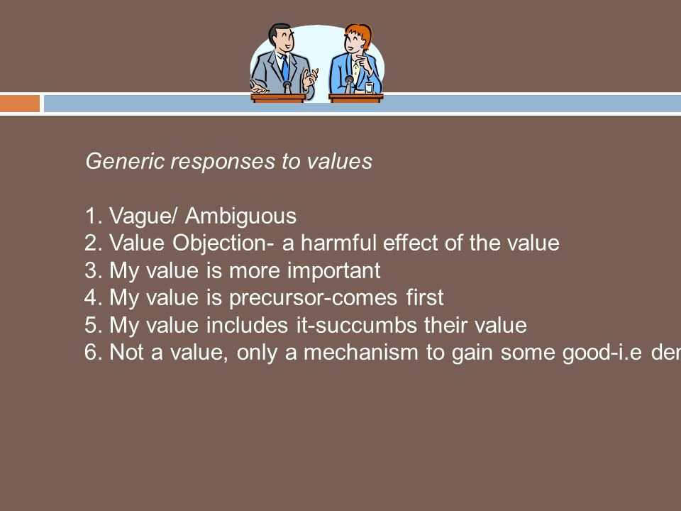 Generic responses to values 1. Vague/ Ambiguous 2.