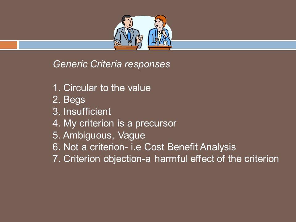 Generic Criteria responses 1. Circular to the value 2.