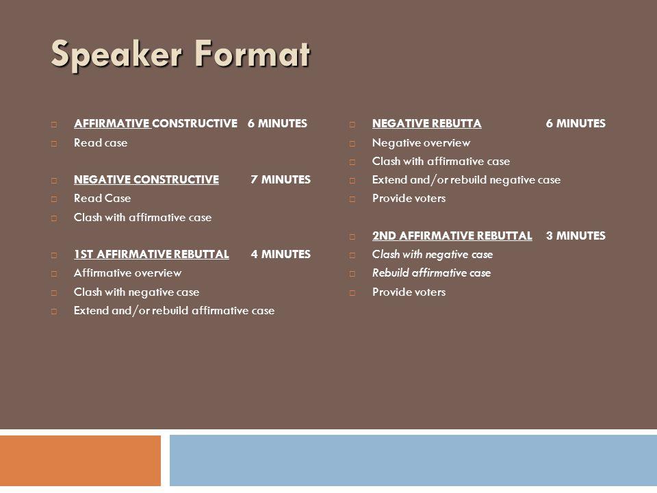 Speaker Format  AFFIRMATIVE CONSTRUCTIVE6 MINUTES  Read case  NEGATIVE CONSTRUCTIVE 7 MINUTES  Read Case  Clash with affirmative case  1ST AFFIRMATIVE REBUTTAL 4 MINUTES  Affirmative overview  Clash with negative case  Extend and/or rebuild affirmative case  NEGATIVE REBUTTA6 MINUTES  Negative overview  Clash with affirmative case  Extend and/or rebuild negative case  Provide voters  2ND AFFIRMATIVE REBUTTAL3 MINUTES  Clash with negative case  Rebuild affirmative case  Provide voters