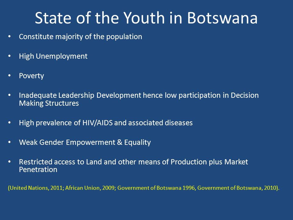 State of the Youth in Botswana Constitute majority of the population High Unemployment Poverty Inadequate Leadership Development hence low participati