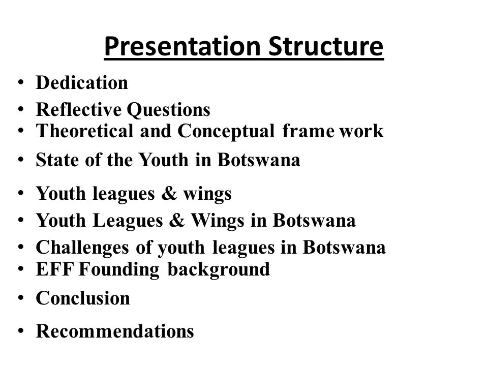 Presentation Structure Dedication Reflective Questions Theoretical and Conceptual frame work State of the Youth in Botswana Youth leagues & wings Youth Leagues & Wings in Botswana Challenges of youth leagues in Botswana EFF Founding background Conclusion Recommendations