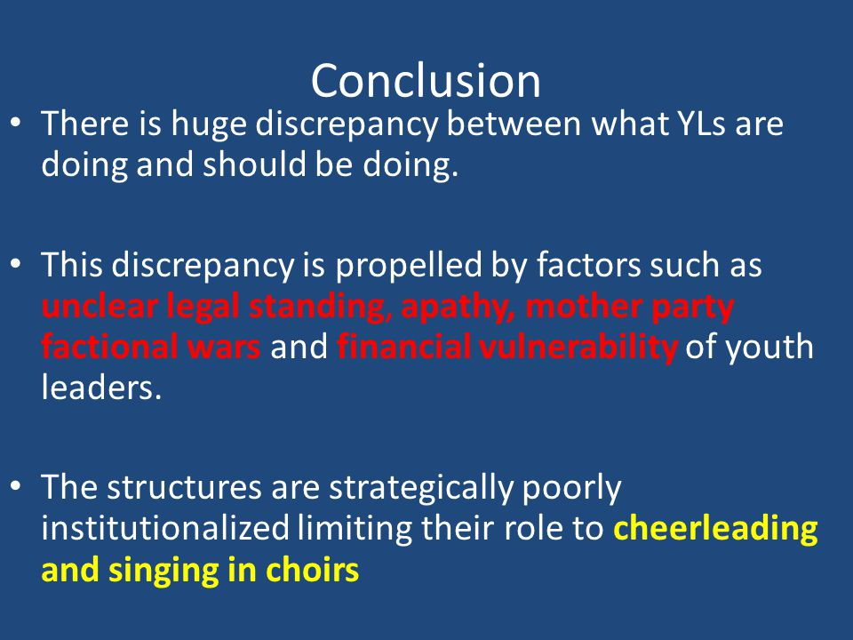 Conclusion There is huge discrepancy between what YLs are doing and should be doing.