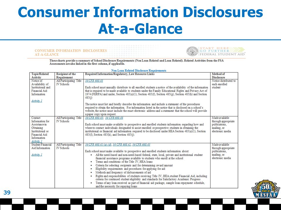 Consumer Information Disclosures At-a-Glance 39