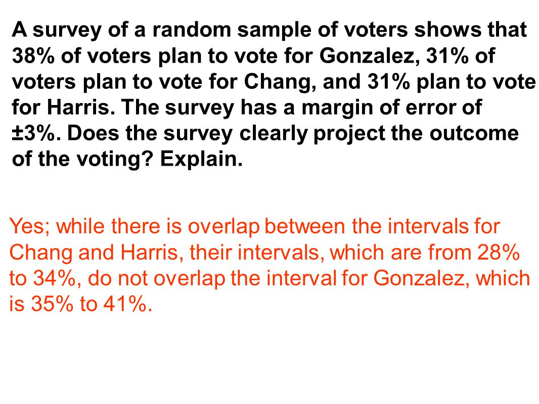 A survey of a random sample of voters shows that 38% of voters plan to vote for Gonzalez, 31% of voters plan to vote for Chang, and 31% plan to vote f