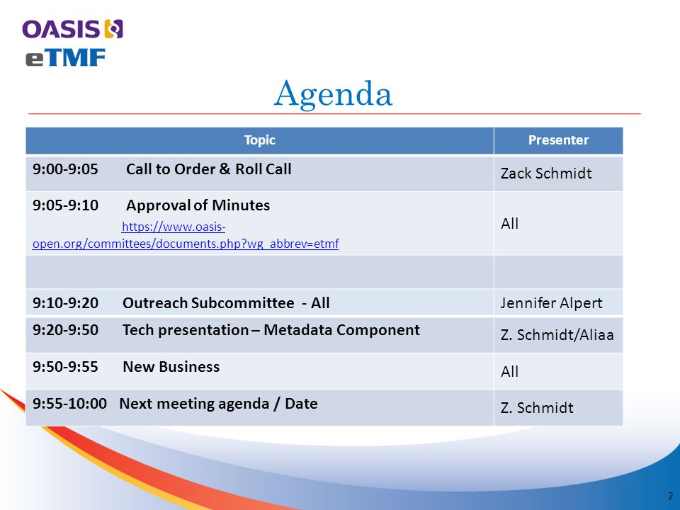 Agenda TopicPresenter 9:00-9:05 Call to Order & Roll Call Zack Schmidt 9:05-9:10 Approval of Minutes https://www.oasis- open.org/committees/documents.php?wg_abbrev=etmf https://www.oasis- open.org/committees/documents.php?wg_abbrev=etmf All 2 9:10-9:20 Outreach Subcommittee - AllJennifer Alpert 9:20-9:50 Tech presentation – Metadata Component Z.