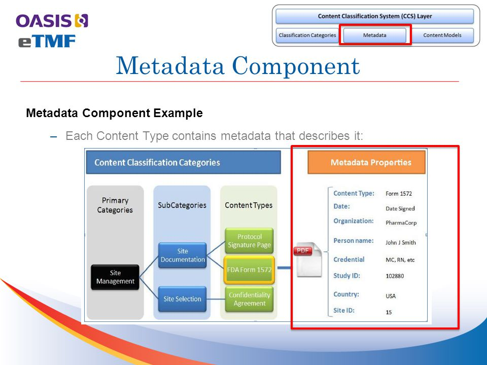 Metadata Component Example –Each Content Type contains metadata that describes it: Metadata Component