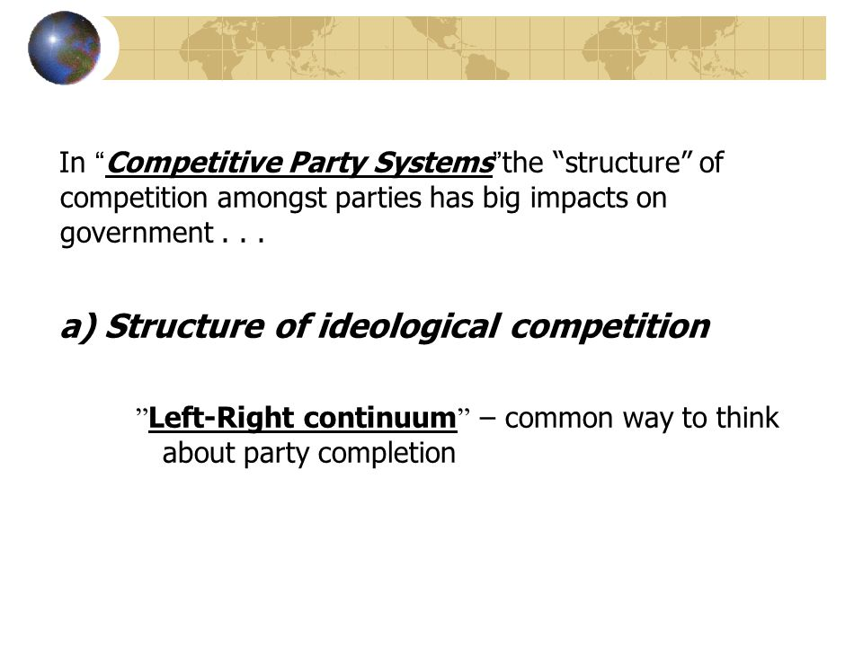 "In ""Competitive Party Systems""the ""structure"" of competition amongst parties has big impacts on government... a) Structure of ideological competition"
