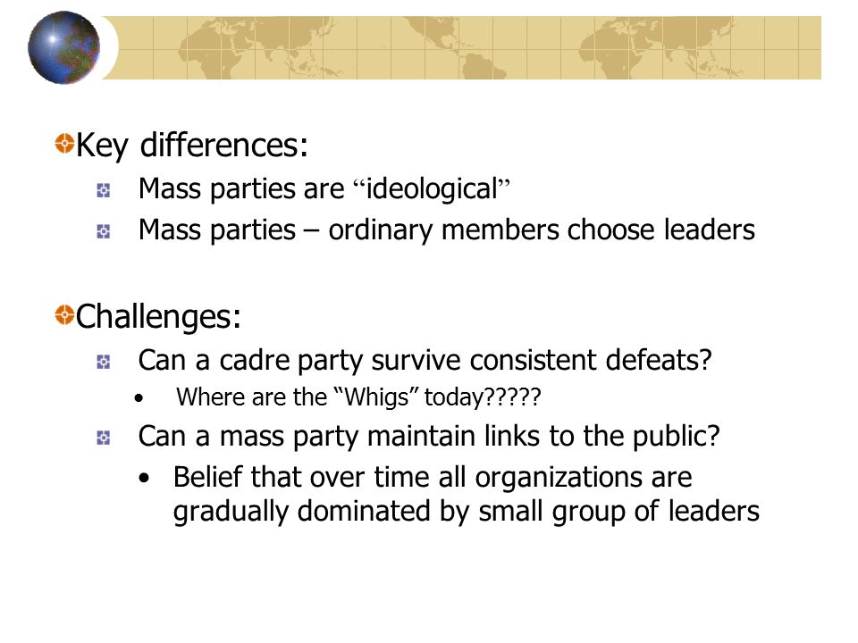 In Competitive Party Systems the structure of competition amongst parties has big impacts on government...