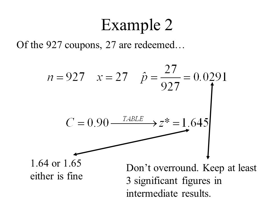 Example 2 Of the 927 coupons, 27 are redeemed… Don't overround. Keep at least 3 significant figures in intermediate results. 1.64 or 1.65 either is fi