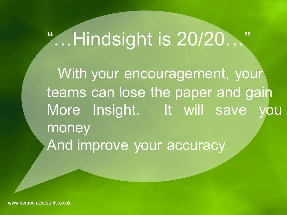 …Hindsight is 20/20… With your encouragement, your teams can lose the paper and gain More Insight.