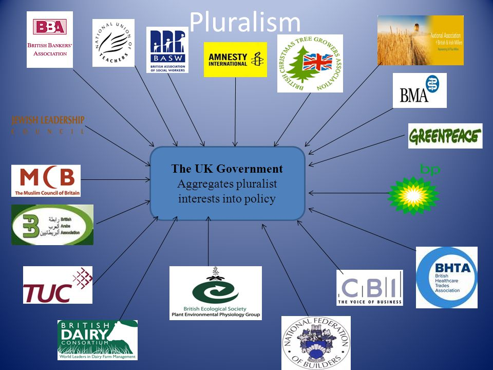 Pluralism The UK Government Aggregates pluralist interests into policy