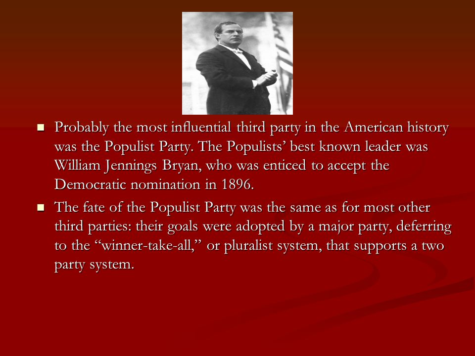 Probably the most influential third party in the American history was the Populist Party.