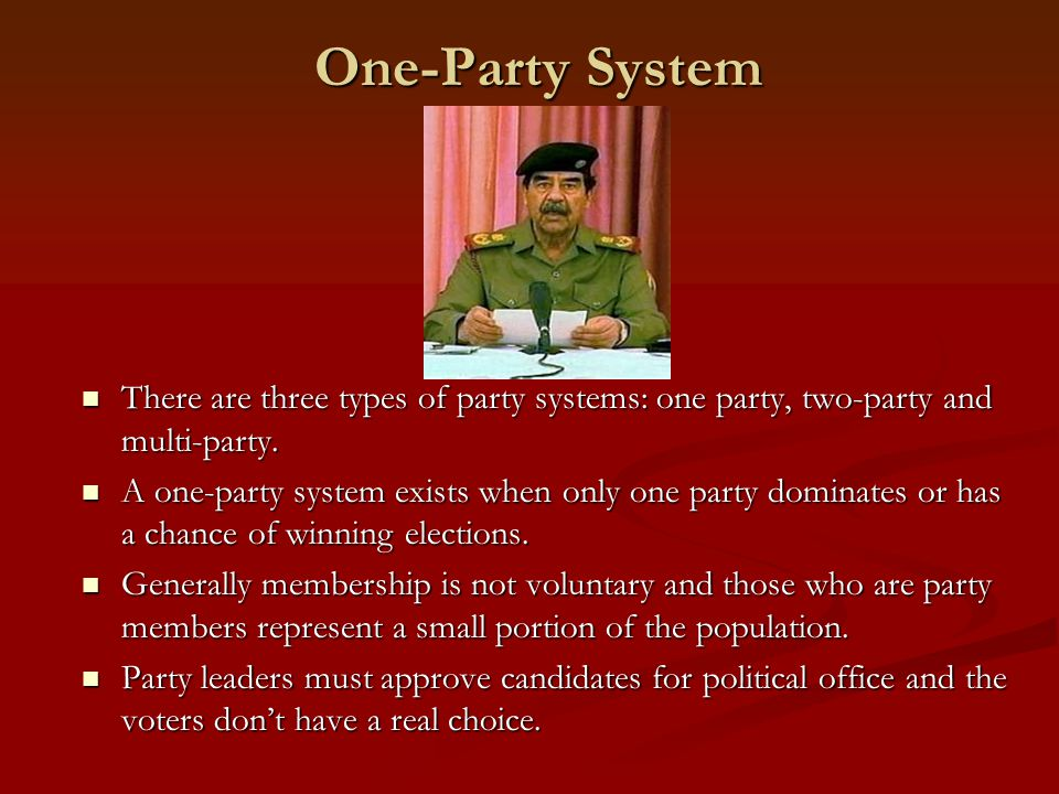 Two-Party System A two-party system exists when there may be several minor parties, but only two have a real chance of winning elections and dominating in power.