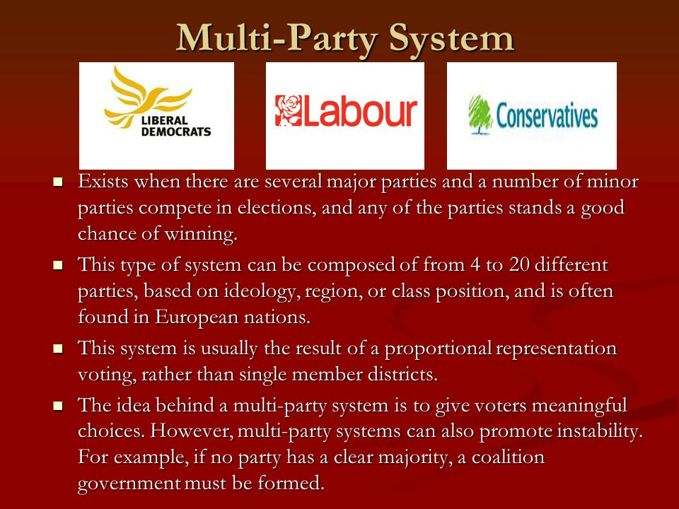 Multi-Party System Exists when there are several major parties and a number of minor parties compete in elections, and any of the parties stands a good chance of winning.