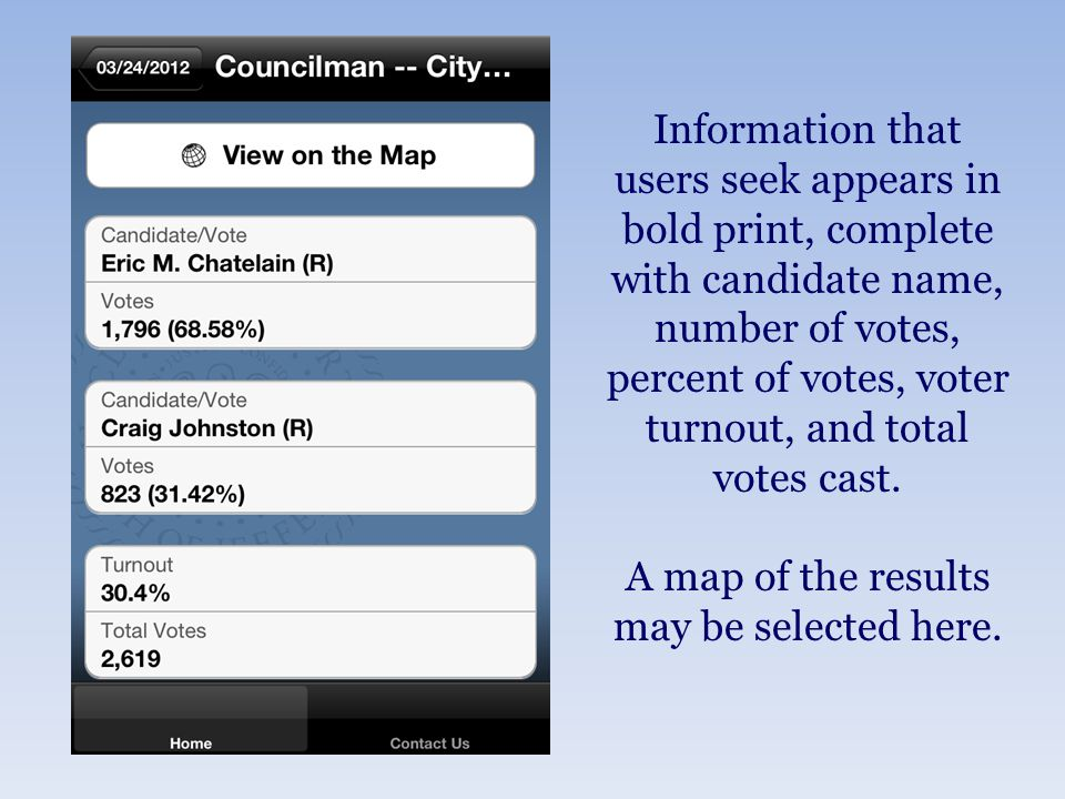Information that users seek appears in bold print, complete with candidate name, number of votes, percent of votes, voter turnout, and total votes cast.