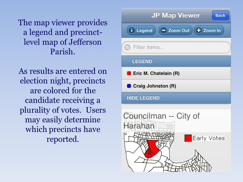 The map viewer provides a legend and precinct- level map of Jefferson Parish.