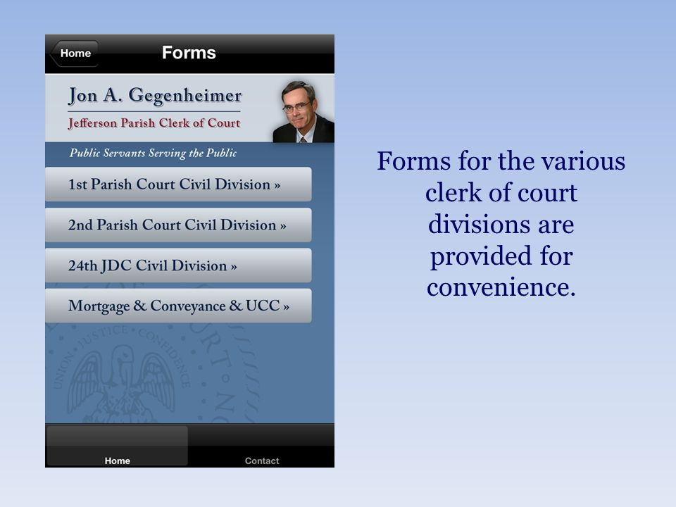 Forms for the various clerk of court divisions are provided for convenience.