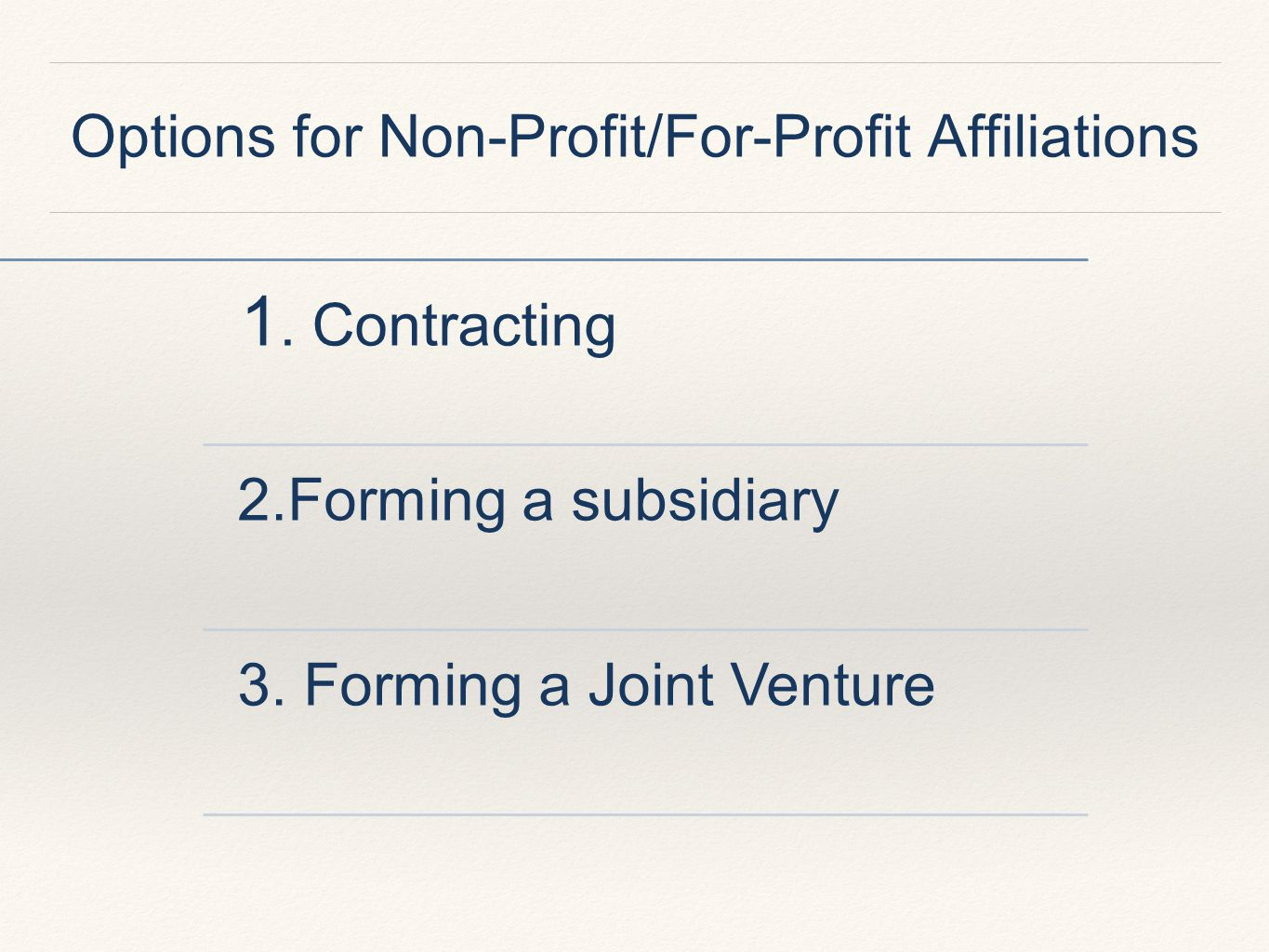 Options for Non-Profit/For-Profit Affiliations 1.Contracting 2.Forming a subsidiary 3.