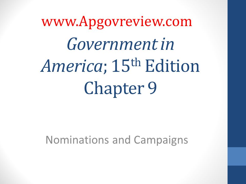 Government in America; 15 th Edition Chapter 9 Nominations and Campaigns www.Apgovreview.com