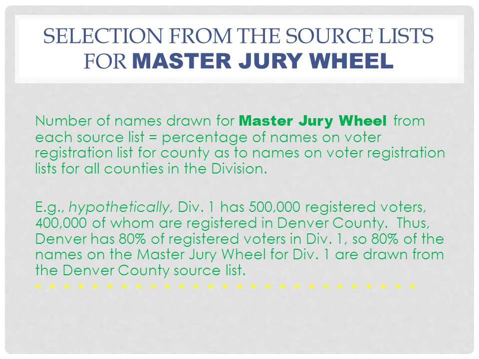 SELECTION FROM THE SOURCE LISTS FOR MASTER JURY WHEEL Number of names drawn for Master Jury Wheel from each source list = percentage of names on voter