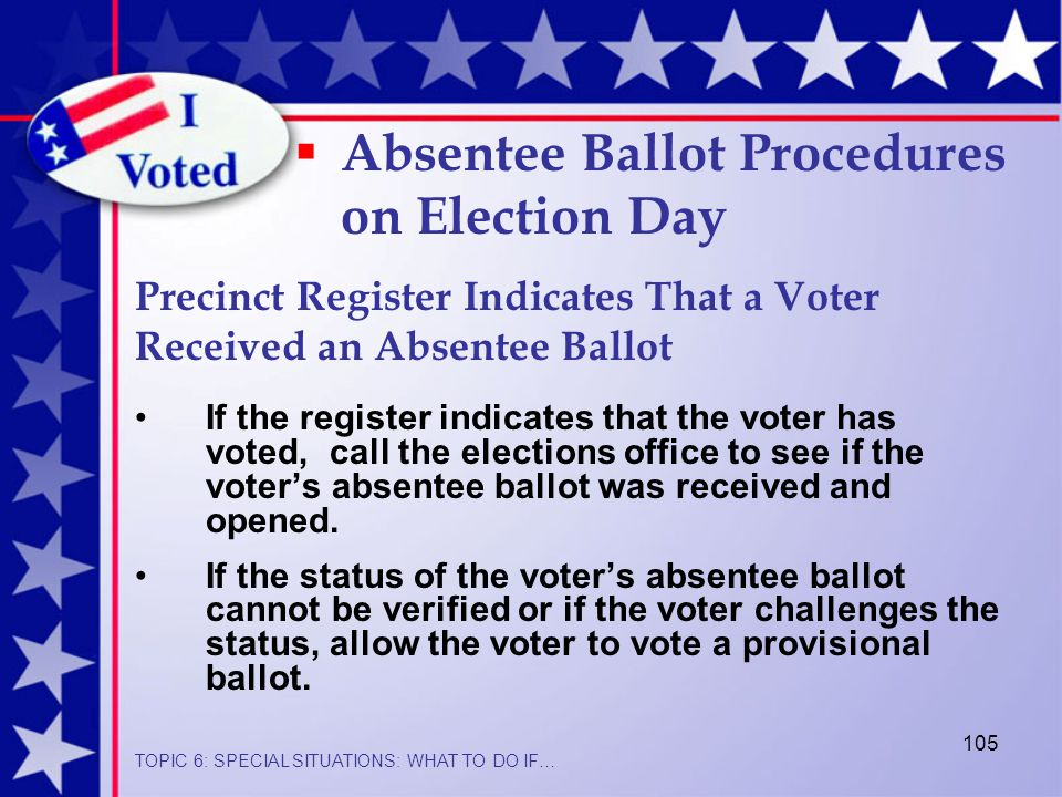 105 If the register indicates that the voter has voted, call the elections office to see if the voter's absentee ballot was received and opened.