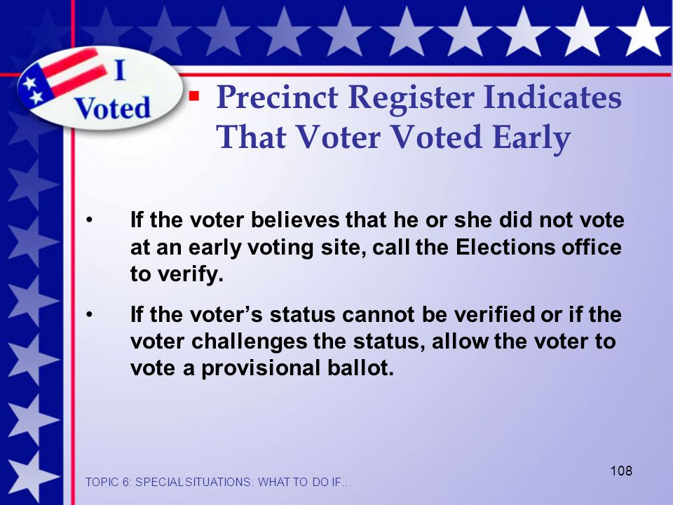 108 If the voter believes that he or she did not vote at an early voting site, call the Elections office to verify.
